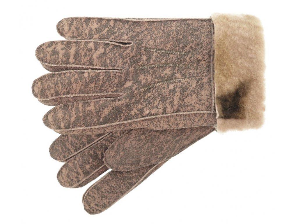 Růžové kožešinové rukavice prstové z beránka