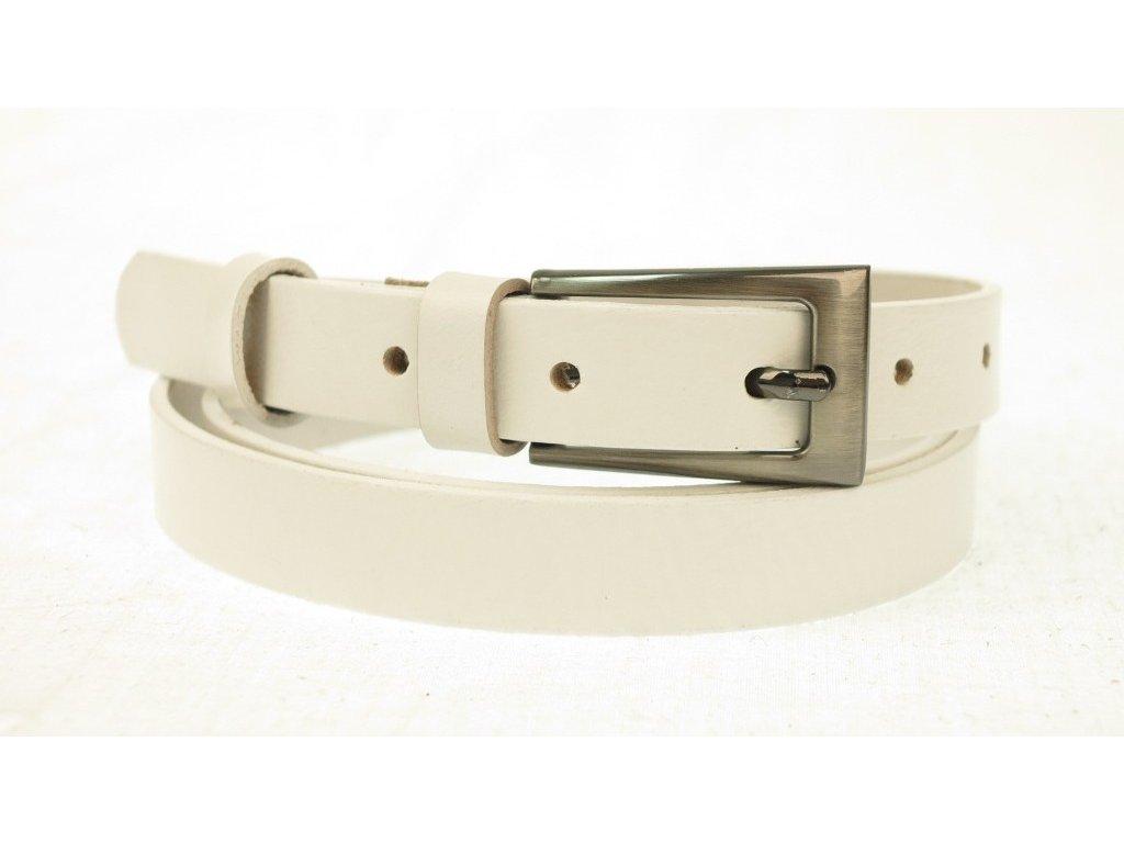 Dámský úzký kožený opasek Penny Belts 20-180-00 bílý