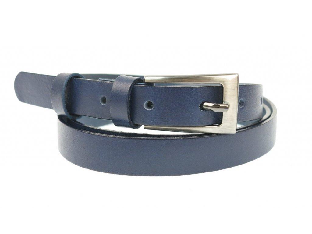 Dámský úzký kožený opasek Penny Belts 20-180-56 námořní modrá