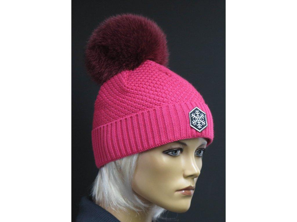 Dámská pletená čepice s kožešinovou bambulí R-Jet 0509 světle růžová