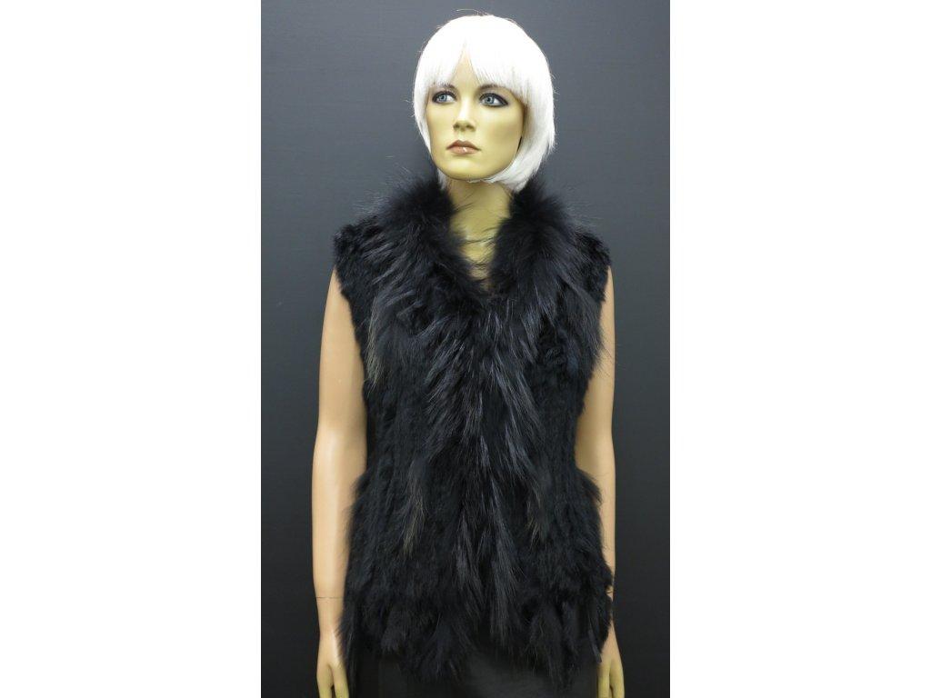 Dámská kožešinová vesta z králíka černá