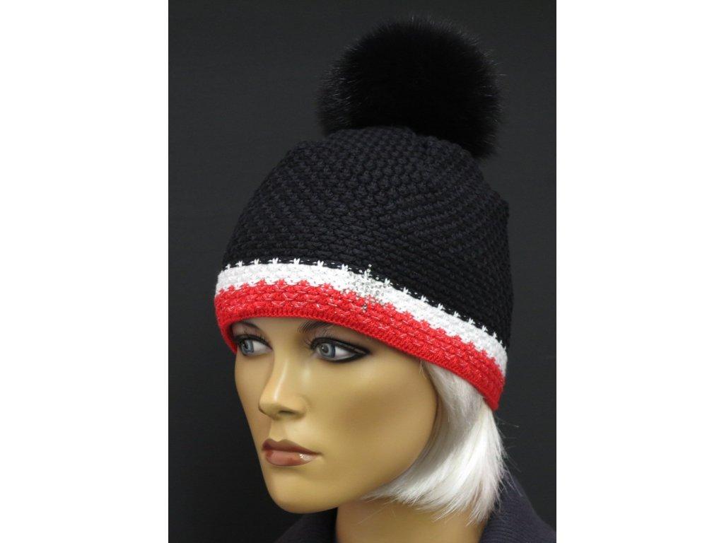Dámská pletená čepice s kožešinovou bambulí R Jet For You 0501 černá s červenobílým lemem