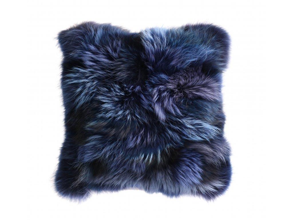 Kožešinový polštář z finského mývalovce - modrý