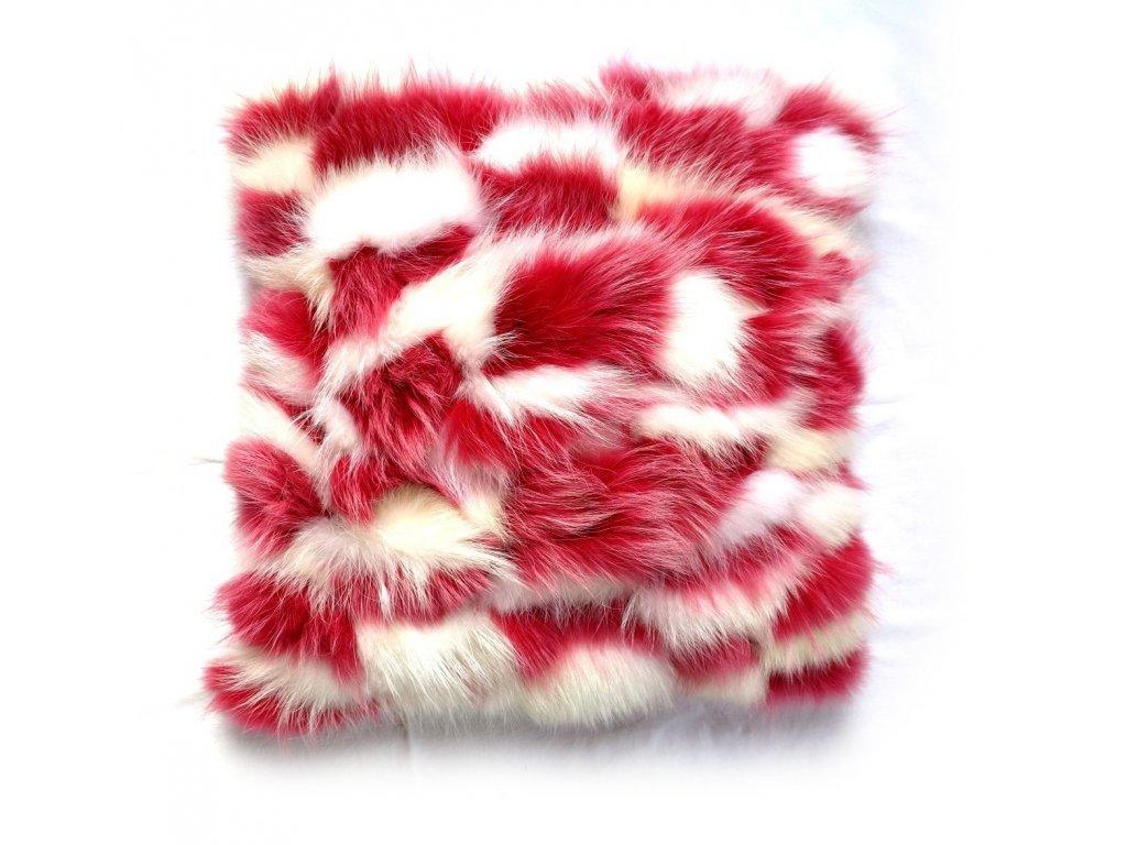 kožešinový polštář mývalovec růžová a bílá