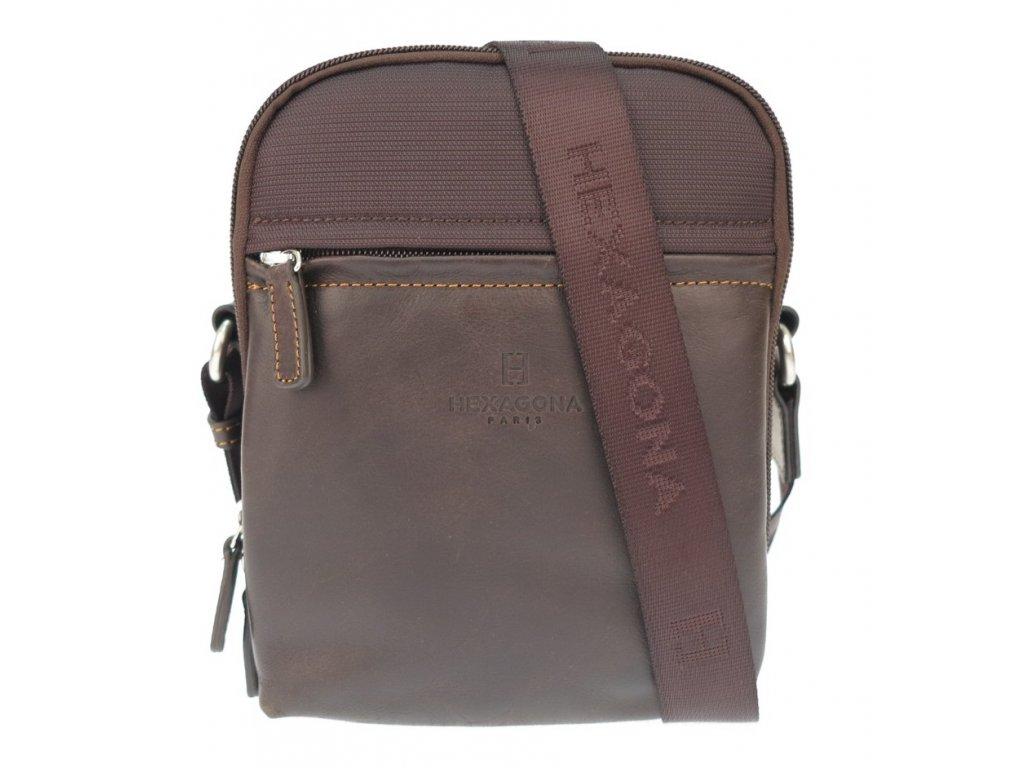 Pánská taška přes rameno Hexagona 291819 hnědá kůže a nylon