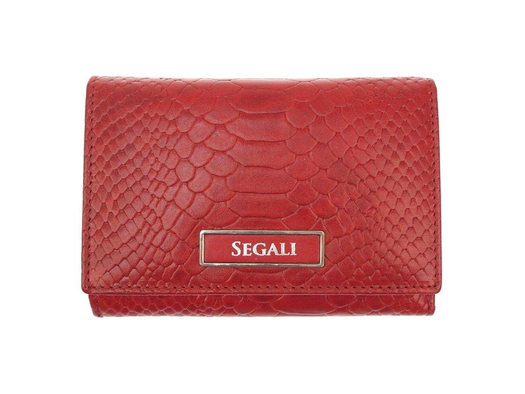 Dámská kožená peněženka Segali 910199510 Red červená hadí kůže