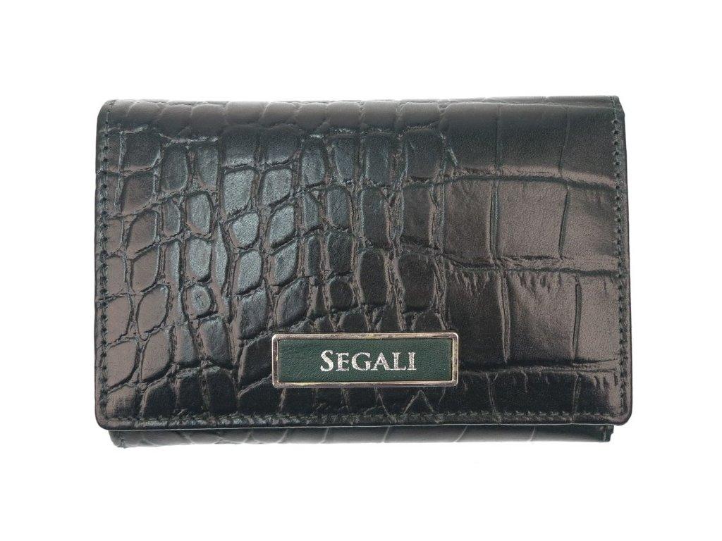 Dámská kožená peněženka Segali 910199510 tmavě zelená krokodýlí kůže