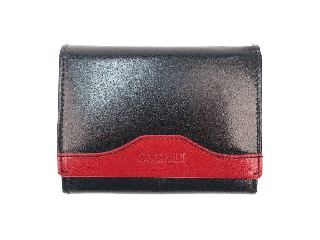Kvalitní dámská kožená peněženka Segali SG61420 černá s červenou