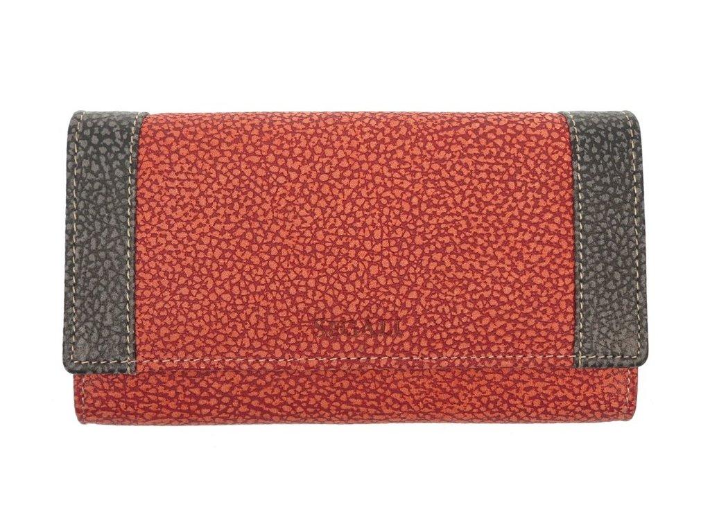 Velká dámská kožená peněženka Segali SG61288 červenooranžová / černošedá