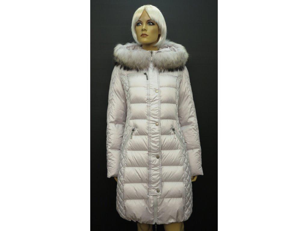adf3b805c83 Dámská zimní péřová bunda s pravou kožešinou Leder Pellicce - světle šedá  Běla