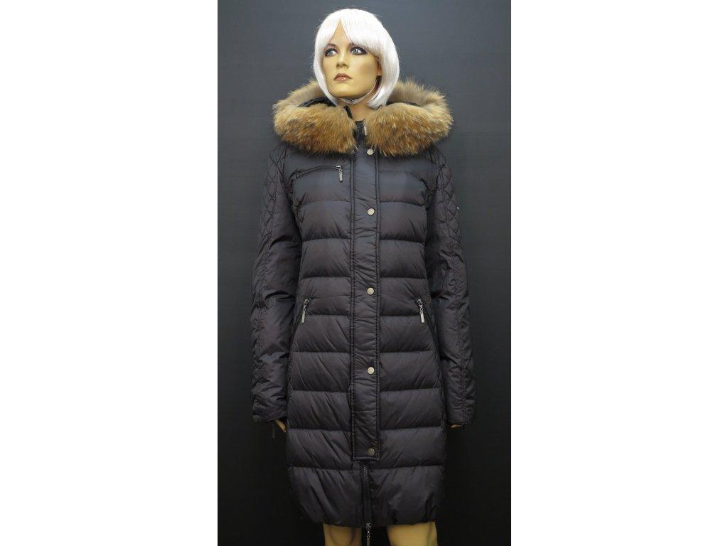 Dámská zimní prodloužená bunda s kožešinou Leder Pellicce černá Diana