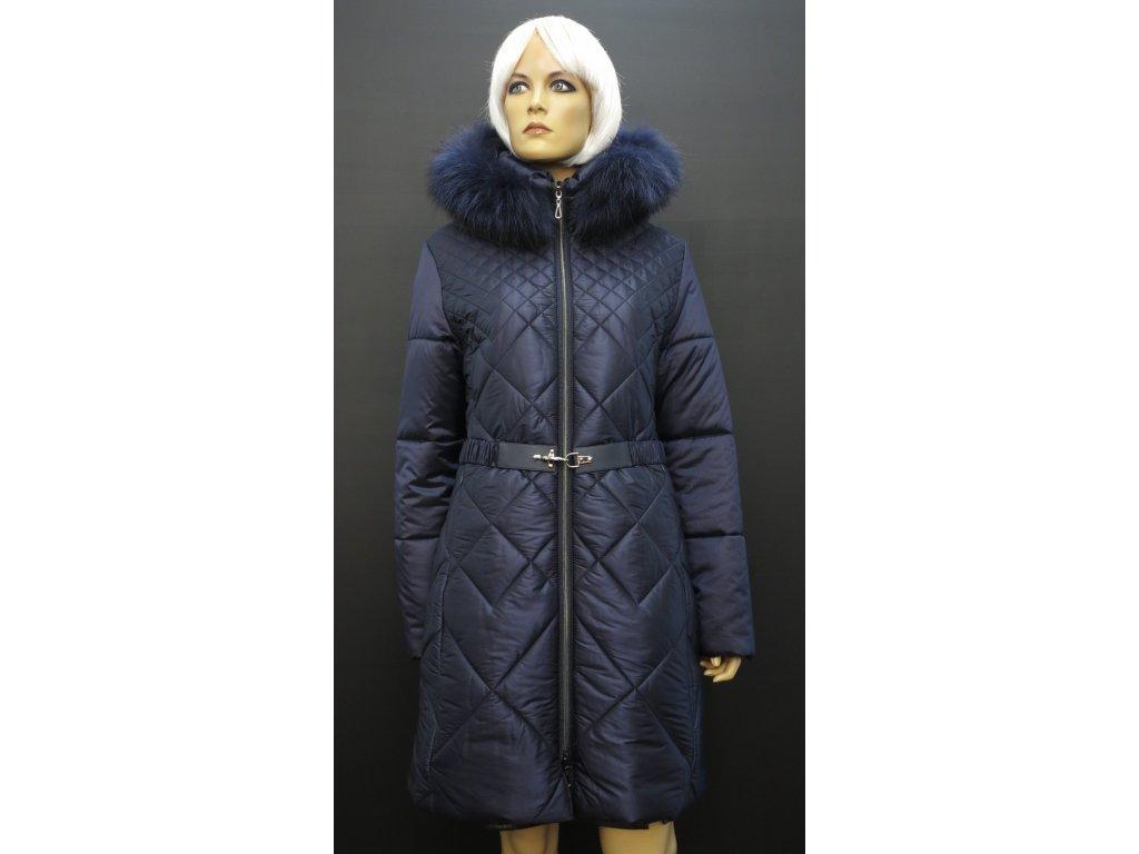 Dámský zimní kabát s pravou kožešinou Leder Pellicce tmavě modrá Katrin