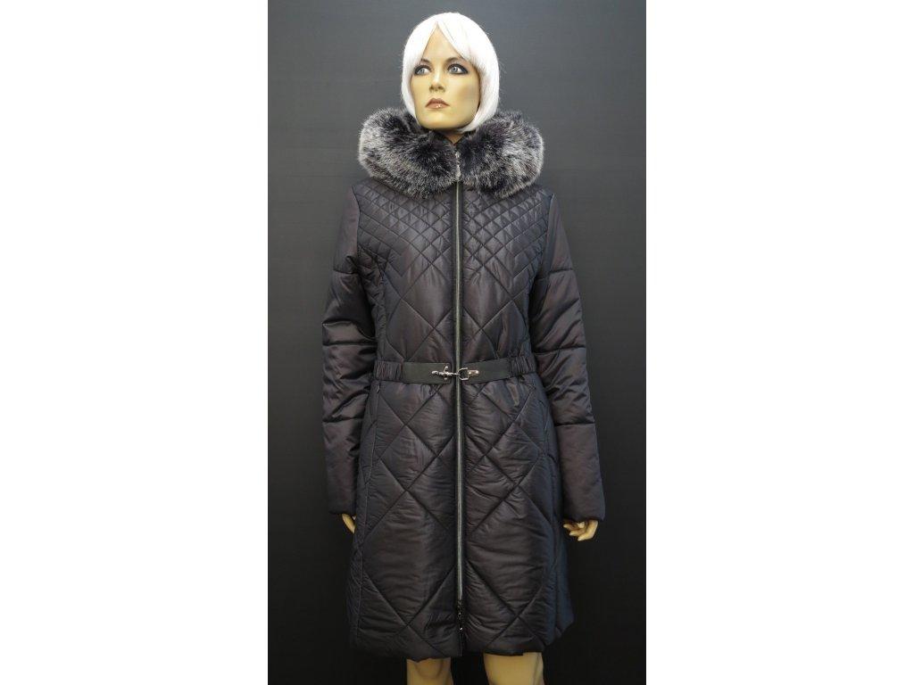 Černý zimní prošívaný kabát s kožešinou Leder Pellice Karolína černý
