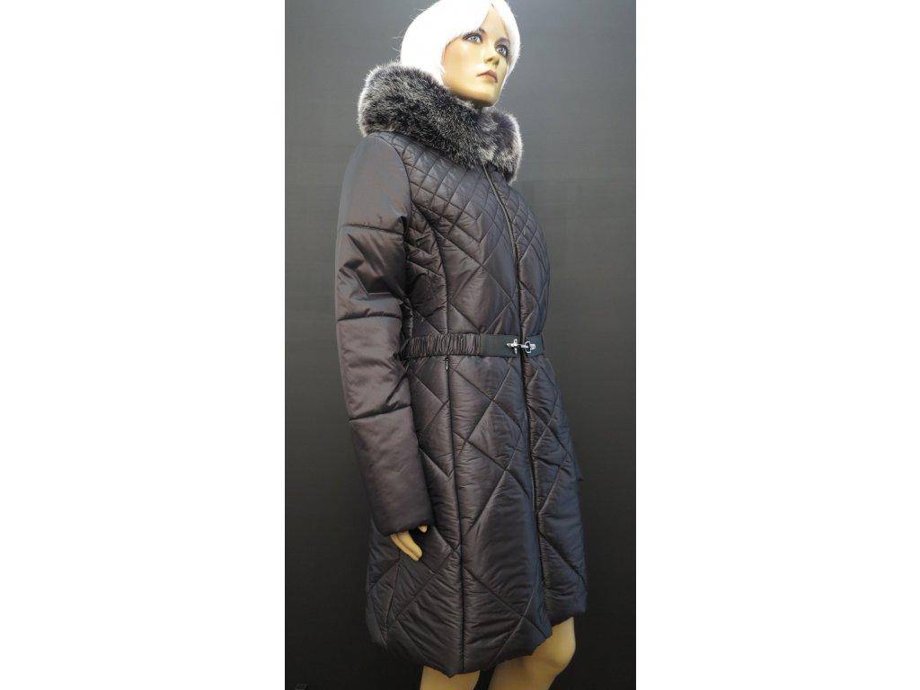 Černý zimní prošívaný kabát s kožešinou Leder Pellice Karolína černý ·  černý dámský zimní dlouhý kabát pro plnoštíhlé 4XL ... fd56f8e6ab