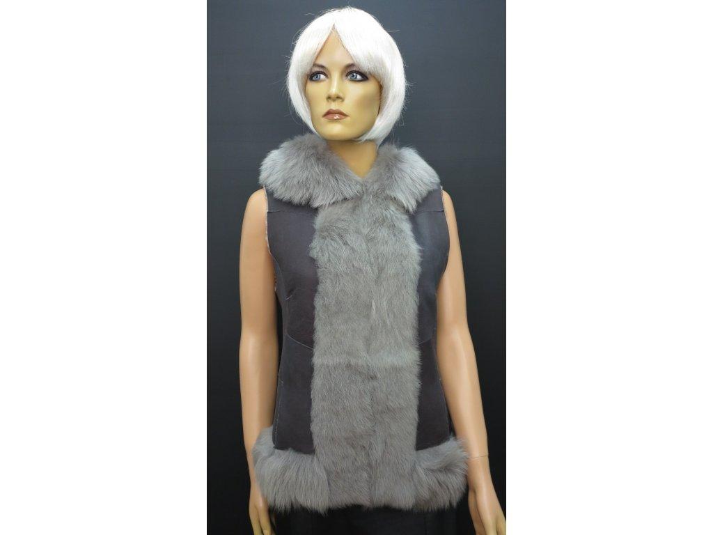 Kožešinová velurová vesta s kapucí šedá