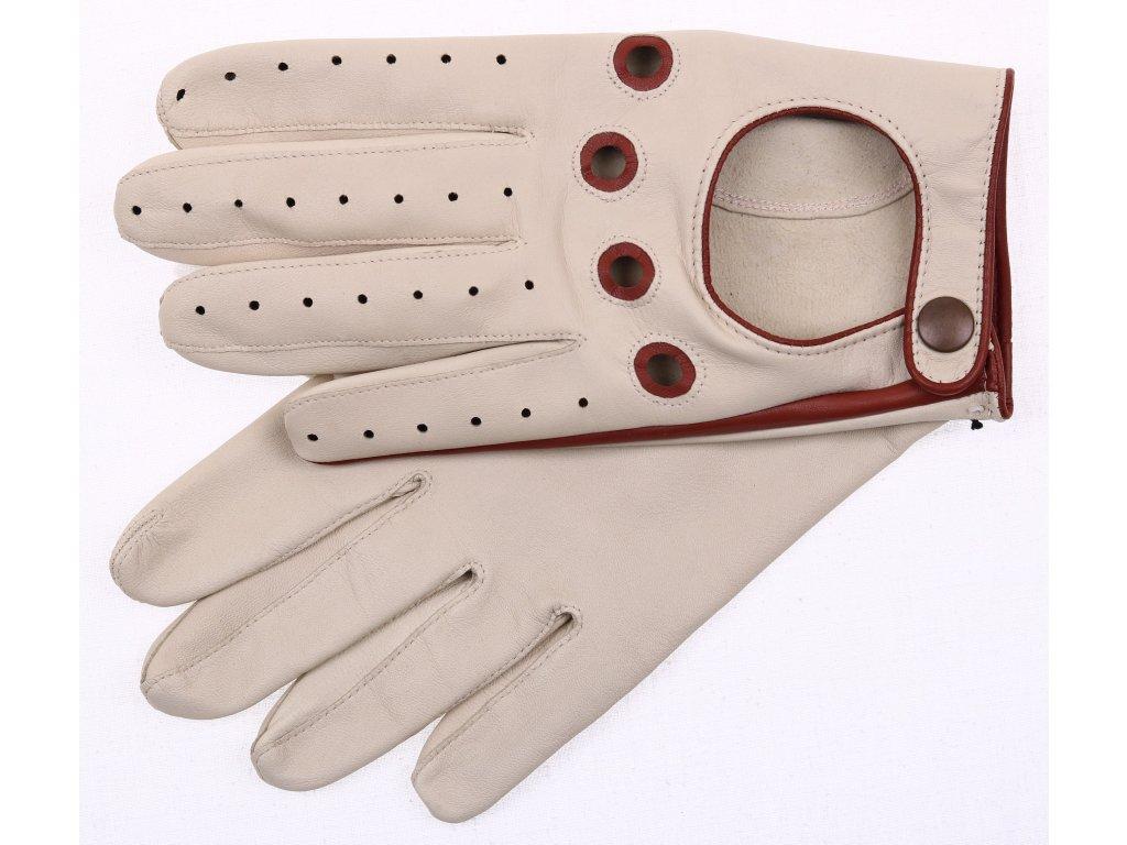 Pánské kožené řidičské rukavice 1448P světlé břízové s hnědými detaily