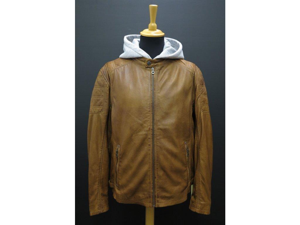 Pánská kožená bunda s kapucí Gipsy Rylo Lakev koňakově hnědá
