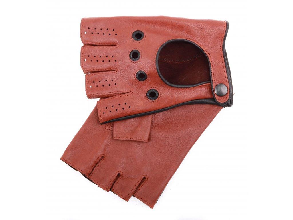 Pánské kožené řidičské rukavice 1448BP bezprstové koňakové