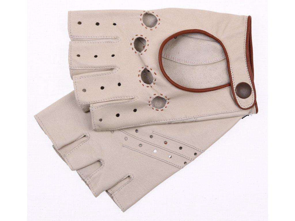 Pánské kožené řidičské rukavice krátké 1452BP béžové s hnědými doplňky - ozdobné šití a perforace na dlani spodní straně rukavice
