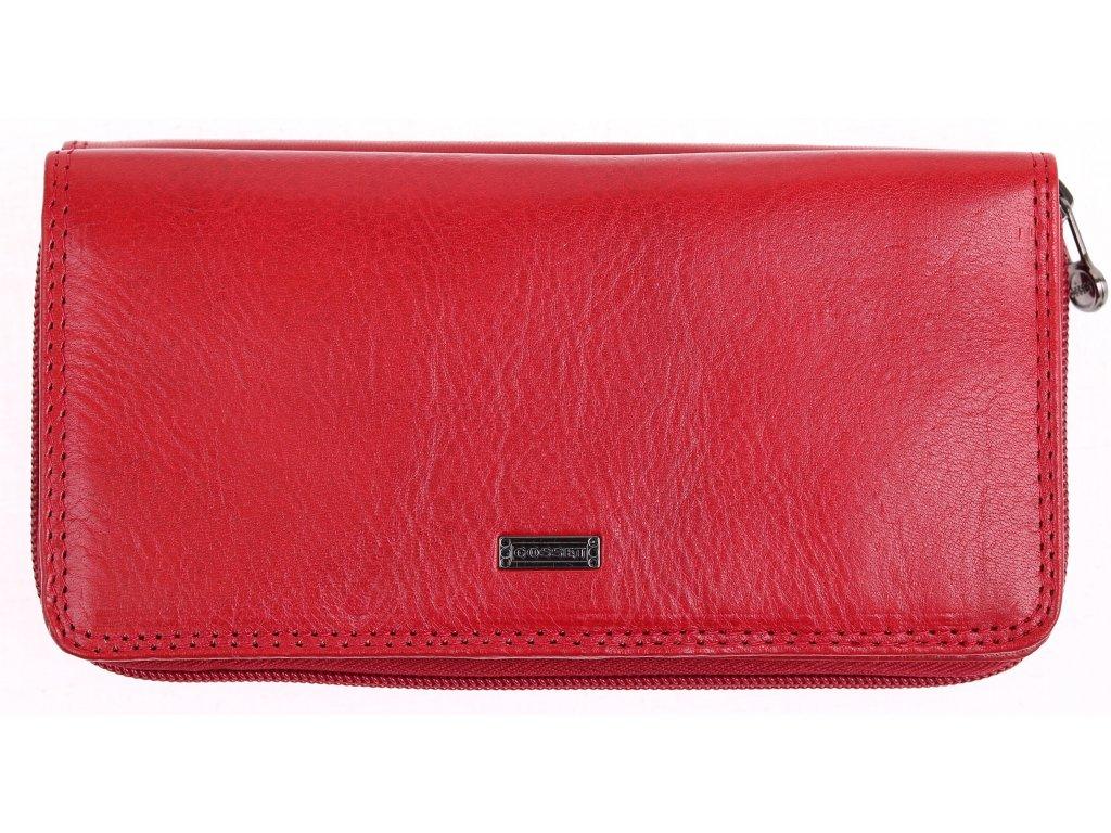 Velká kožená peněženka penál na zip  s organizérem Cosset 4401 Komodo Red Flamengo červená