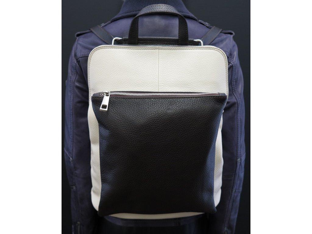 Borse dámský kožený batoh Gabi -  béžový + tmavě hnědý