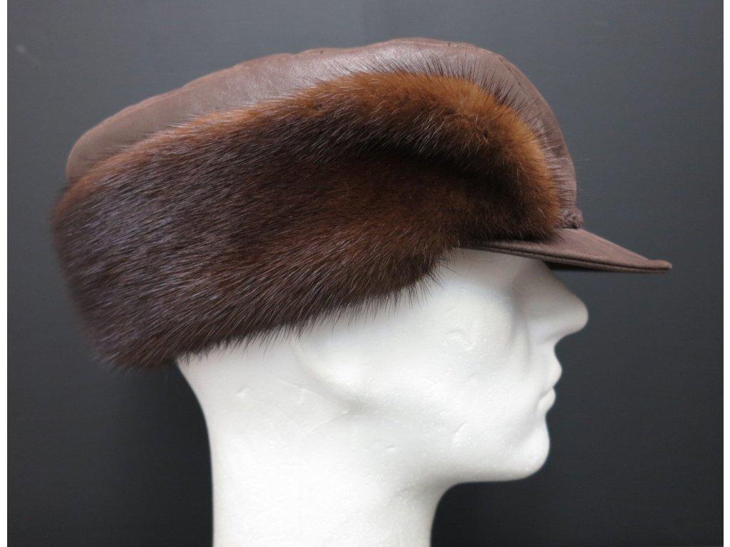 Lovecká kožešinová čepice kšiltovka hnědá ceko64
