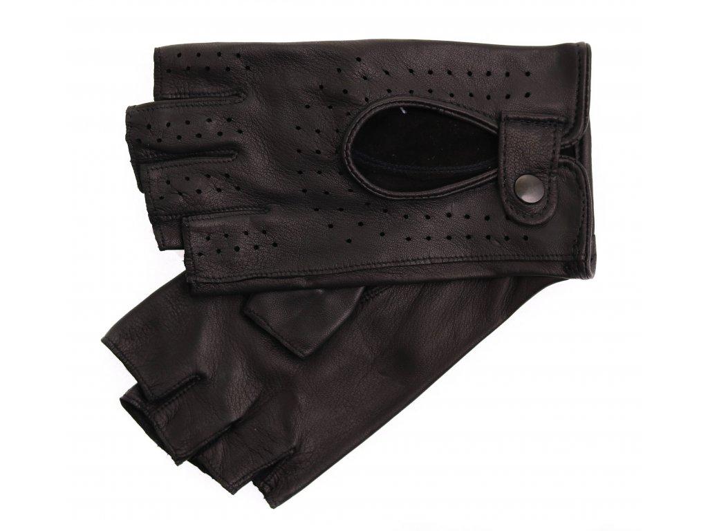 Dámské kožené řidičské rukavice 3000BP bezprstové černé perforované