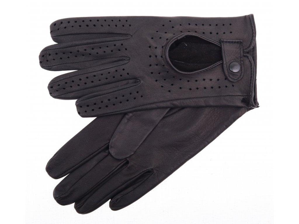 Dámské kožené řidičské rukavice 3034 černé perforované