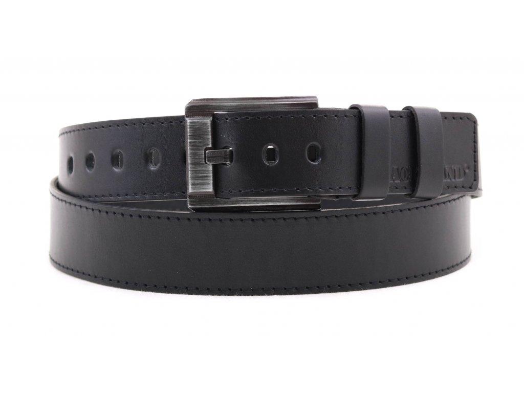 Pánský kožený opasek Black Hand 120-98 černý NADMĚRNÁ DÉLKA