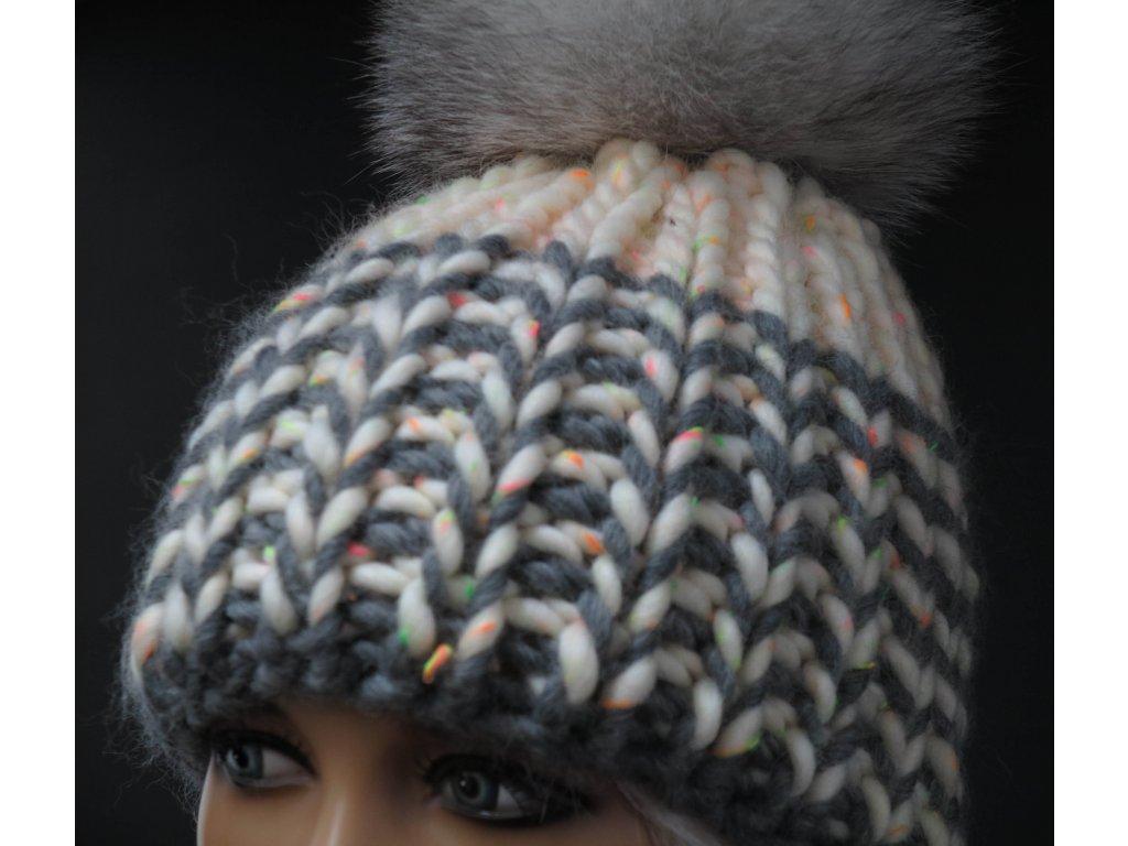 Dámská pletená čepice s kožešinovou bambulí 457 oranžová