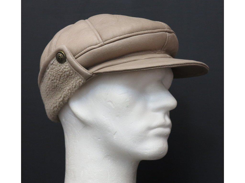 Pánská kožešinová čepice z jehnětiny béžová CEKO56
