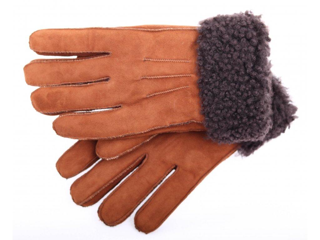 Kožešinové rukavice prstové PR12 koňakové vel. M/L