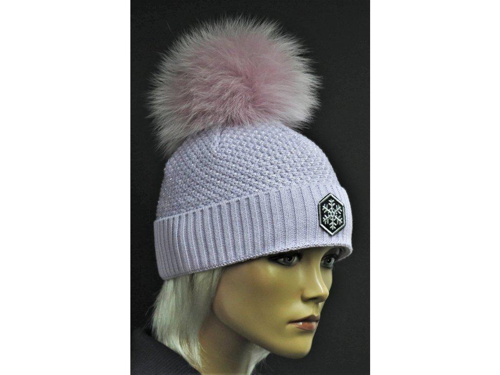 Zimní pletená čepice s černou bambulí R-Jet 429 fialová