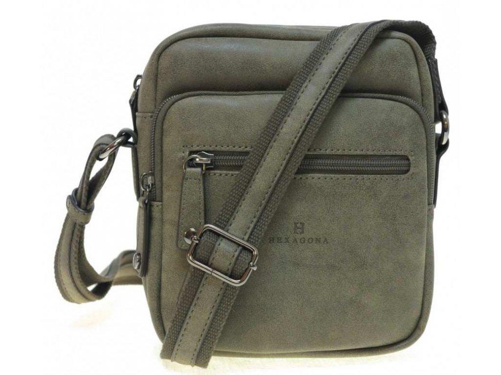 Pánská taška přes rameno 784628 světle šedohnědá koženka