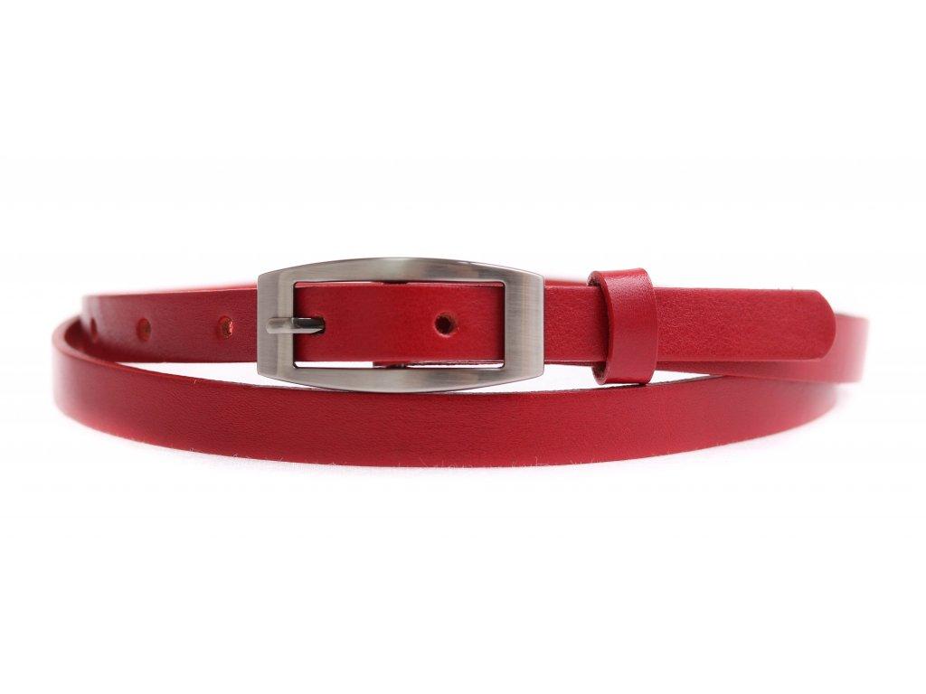 Dámský úzký kožený opasek Penny Belts 1513 červený