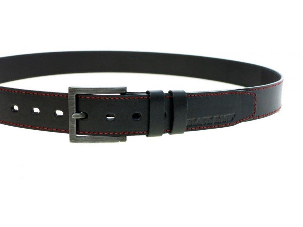 Pánský kožený opasek Black Hand 123-98 černý + červené prošití