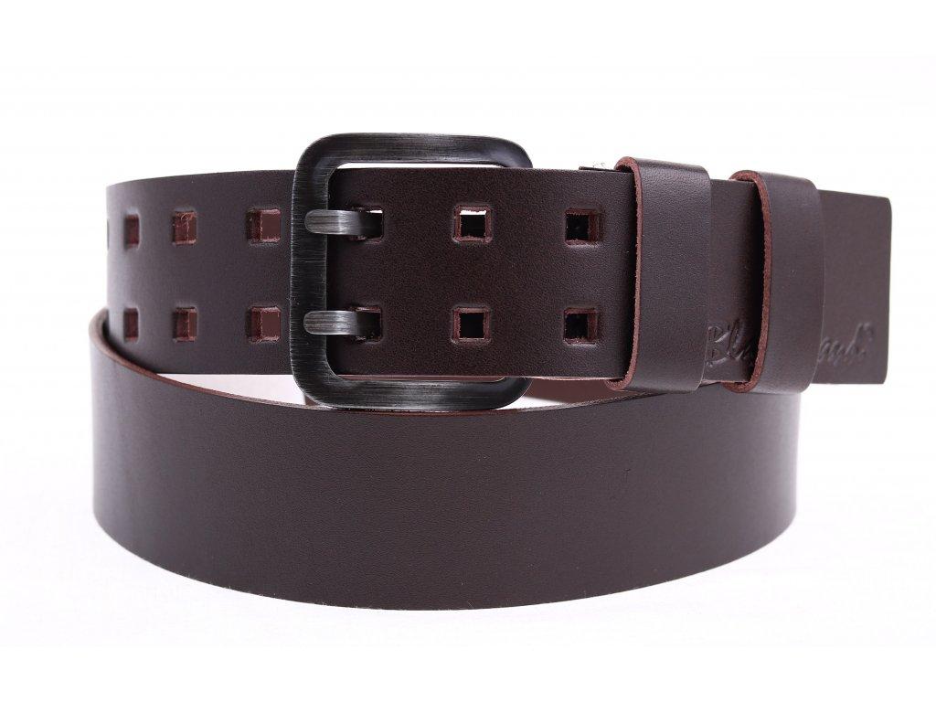 Široký pánský kožený opasek Black Hand se dvěma trny 011-93 tmavě hnědý