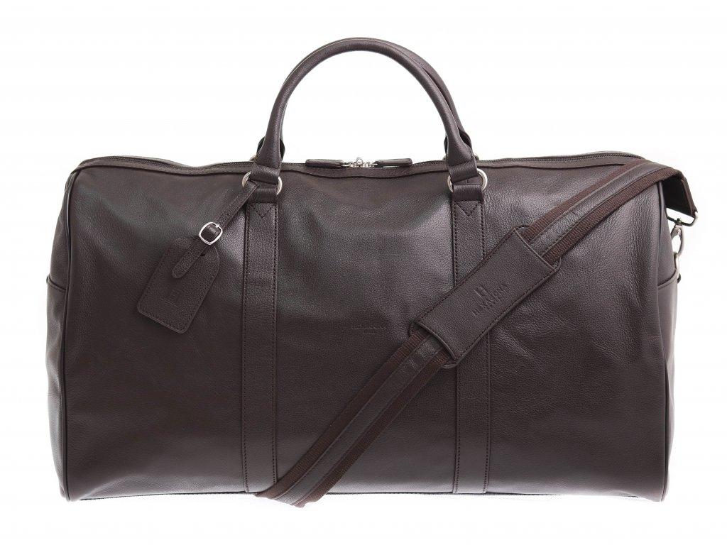 Velká cestovní kožená taška Hexagona 462966 hnědá hovězina