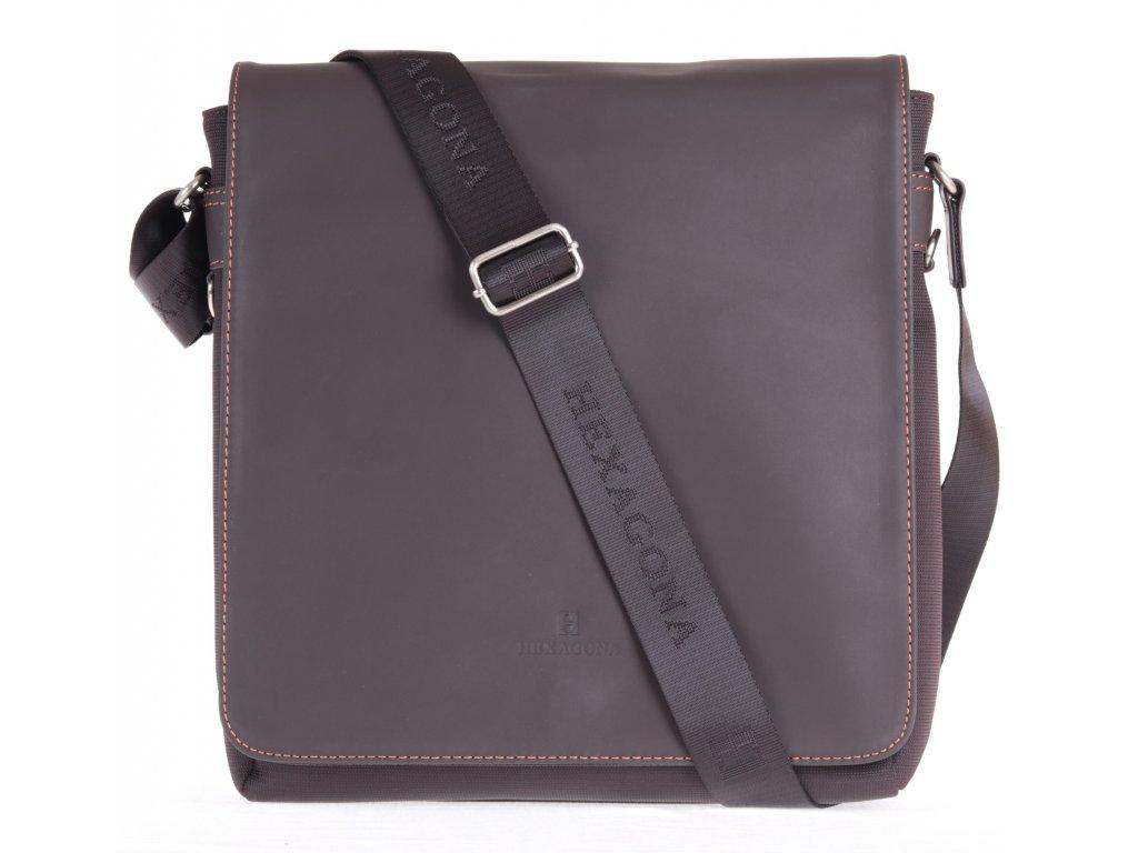 a815cb61ad Pánská textilní taška přes rameno Hexagona 299163 hnědá s koženou ...