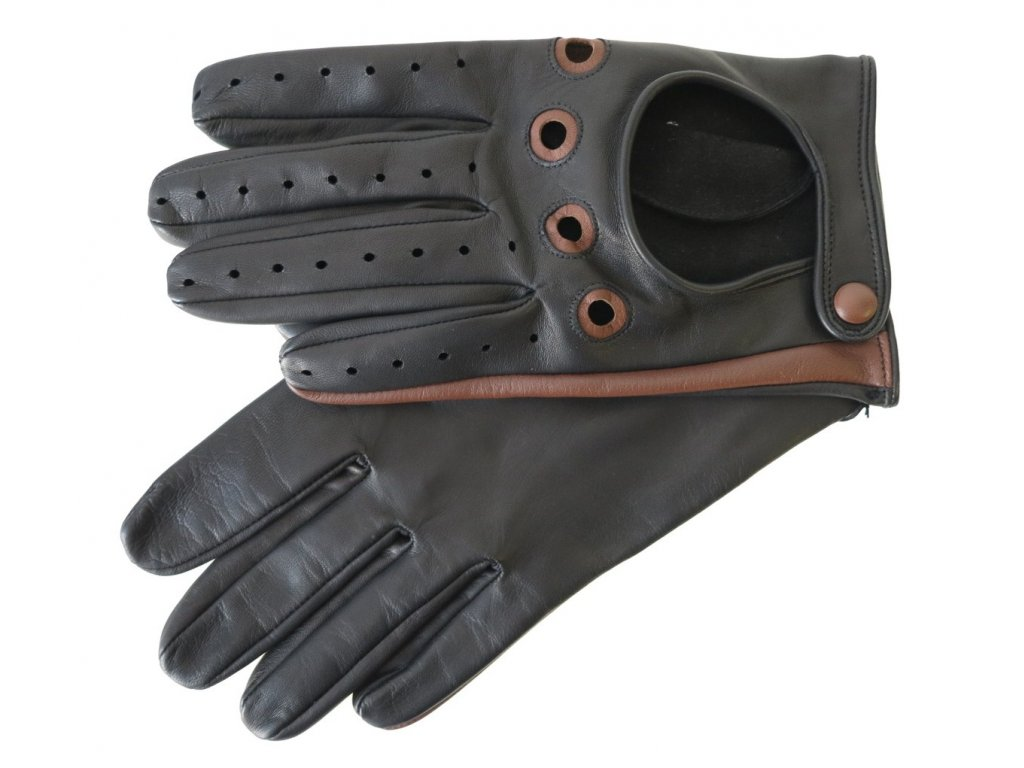 Pánské kožené řidičské rukavice 1448P černé s koňakovými detaily - česká výroba