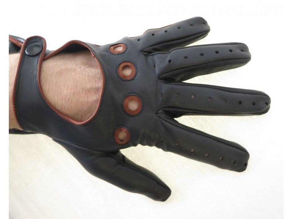 7b9168ae7bd ... Pánské kožené řidičské rukavice 1448P černé s koňakovými detaily ...
