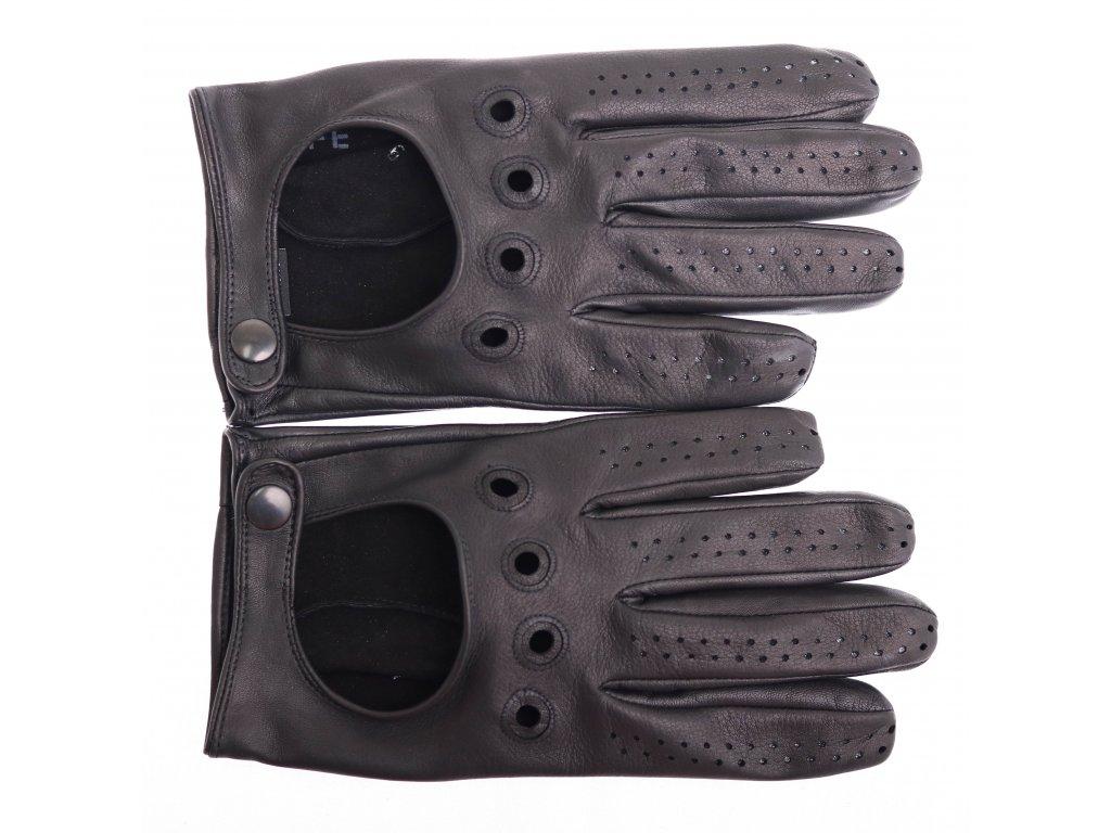 Pánské kožené autorukavice 1448P černé - perforované na prstech c3899428c3