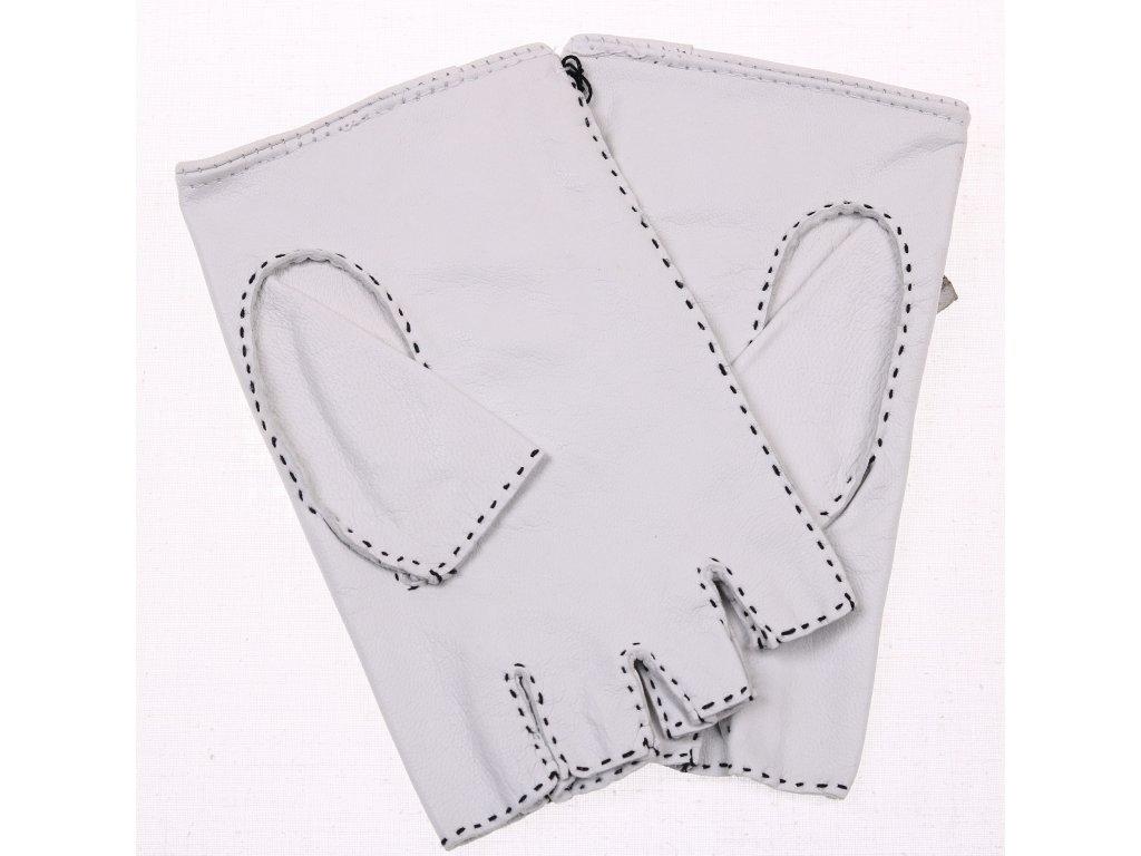 ... Pánské luxusní kožené řidičské rukavice 1433BP bezprsté bílé s výpletem f74a91a180