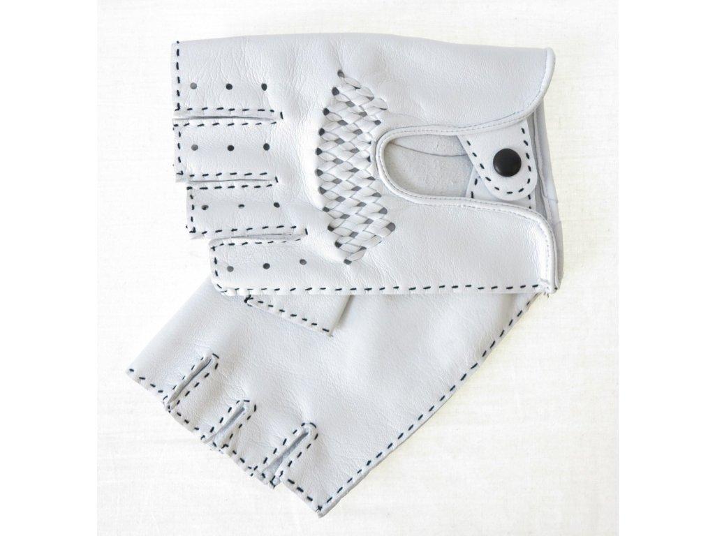 Pánské luxusní kožení řidičské rukavice 1433BP bezprsté bílé s výpletem A