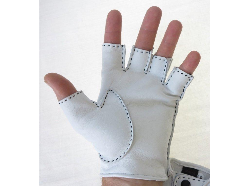 ... Pánské luxusní kožené řidičské rukavice 1433BP bezprsté bílé s výpletem  ... 4fd65d0023