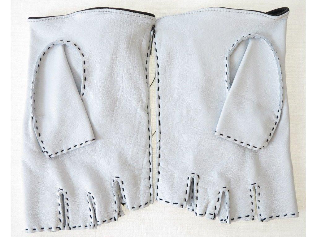 ... Pánské luxusní kožené řidičské rukavice 1433BP bezprsté bílé s černým  výpletem ... 108feaaf92