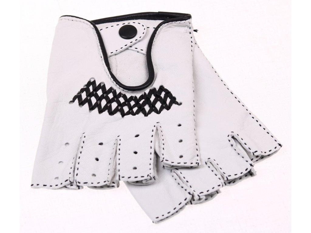 ... Pánské luxusní kožené řidičské rukavice 1433BP bezprsté bílé s černým  výpletem - česká výroba ... e04067be1e