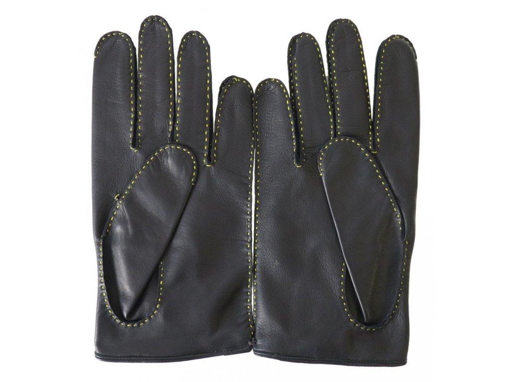665787cf602 ... ručně šité kožené řidičské rukavice z České republiky · Pánské luxusní kožené  řidičské rukavice 1433P černé se žlutým průpletem ...