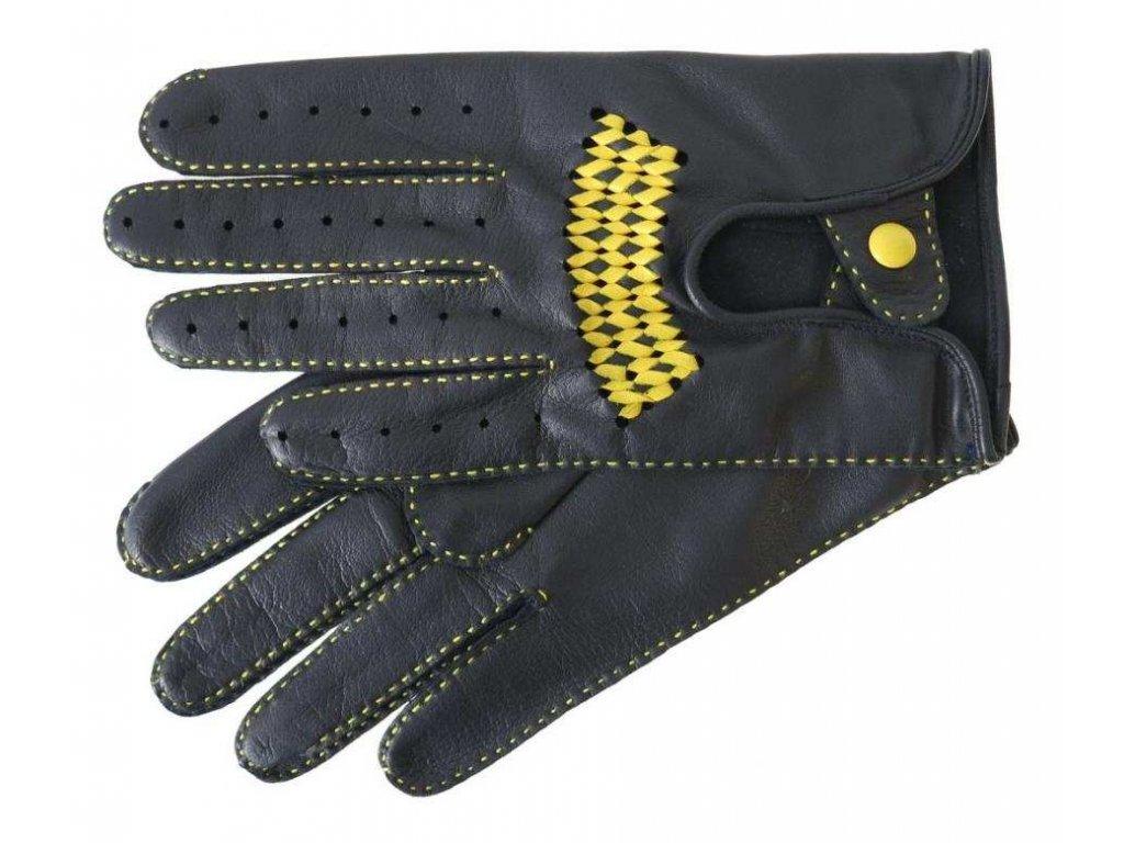 Pánské luxusní kožené řidičské rukavice 1433P černé se žlutým průpletem