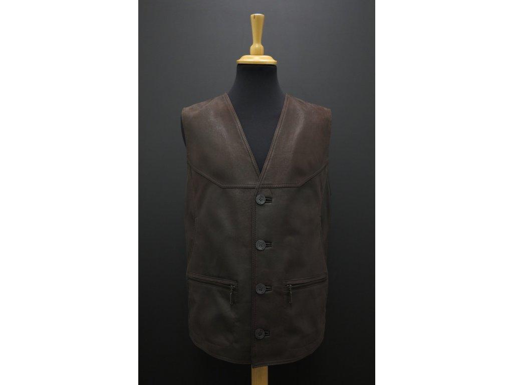 Pánská kožená vesta z broušené jehnětiny F19 tmavě hnědá